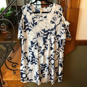 Shoreline Tropical Cold Shoulder Dress 2XL